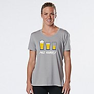 Womens R-Gear Pace Yourself Beer Graphic Tee Short Sleeve Technical Tops - Heather Chrome L