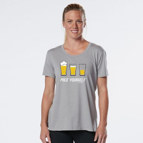 Womens R-Gear Pace Yourself Beer Graphic Tee Short Sleeve Technical Tops - Heather Chrome S