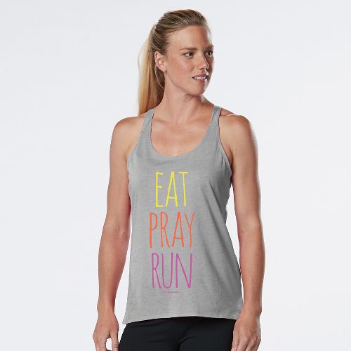 Womens R-Gear Eat, Pray, Run Graphic Sleeveless & Tank Technical Tops - Heather Chrome L