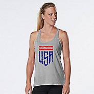 Womens R-Gear U.S.A. Graphic Sleeveless & Tank Technical Tops - Heather Chrome S