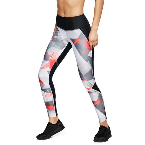 Womens Under Armour Fly Fast Printed Tights & Leggings Pants - Black Neon Coral L