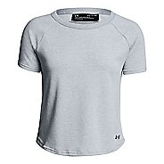 Womens Under Armour TB Terry Short Sleeve Technical Tops - Steel L