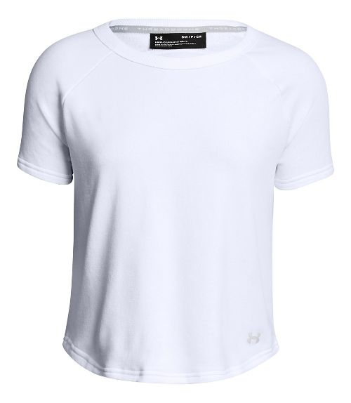 Womens Under Armour TB Terry Short Sleeve Technical Tops - White XL