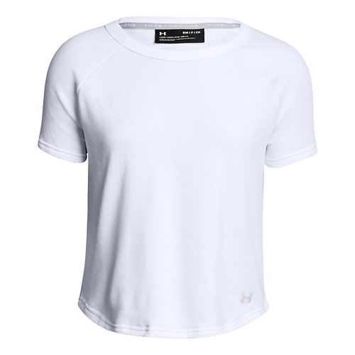 Womens Under Armour TB Terry Short Sleeve Technical Tops - White L