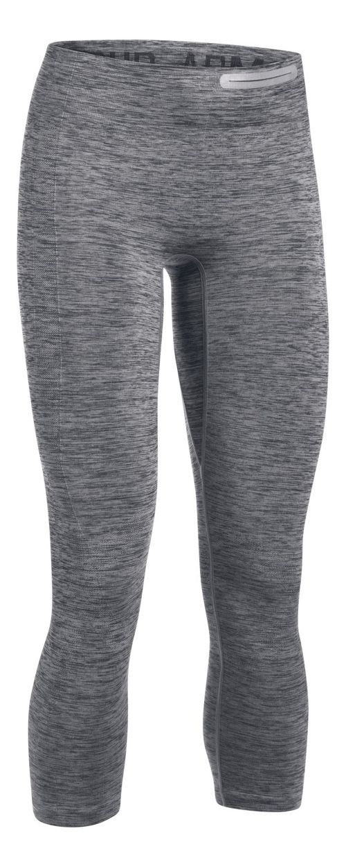 Womens Under Armour Threadborne Seamless Heather Crop Tights - Anthracite S