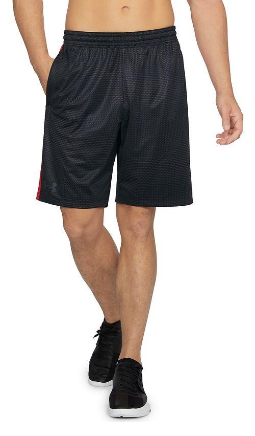 Mens Under Armour Raid 2.0 Printed Unlined Shorts - Black/Pierce Red XL