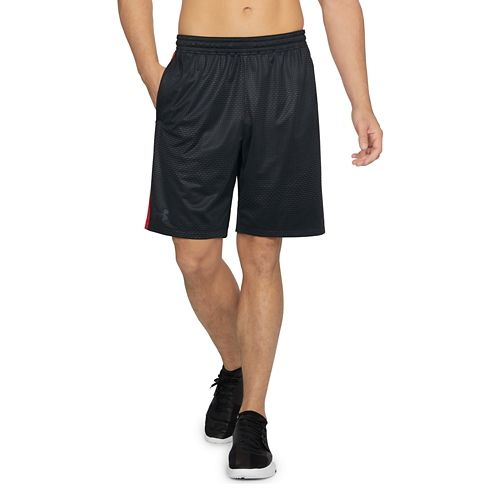 Mens Under Armour Raid 2.0 Printed Unlined Shorts - Black/Pierce Red M