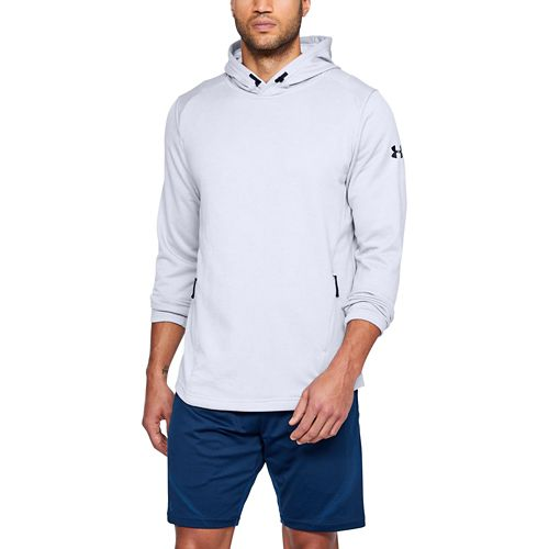 Mens Under Armour Tech Terry Popover Half-Zips & Hoodies Technical Tops - White/Graphite M