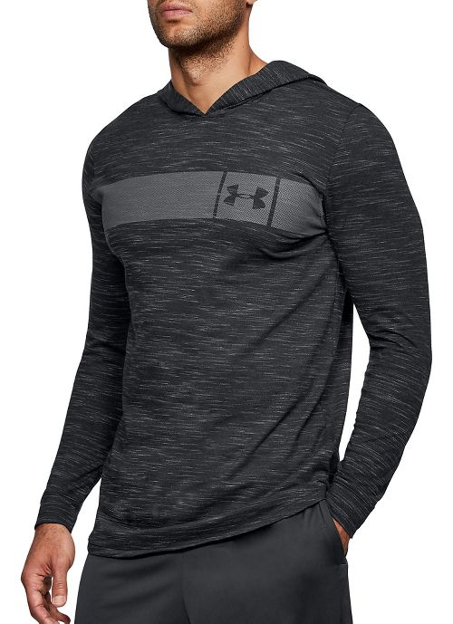 Mens Under Armour Sportstyle Core Half-Zips & Hoodies Technical Tops - Black/Graphite L