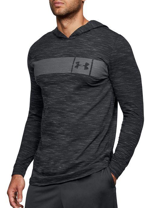 Mens Under Armour Sportstyle Core Half-Zips & Hoodies Technical Tops - Black/Graphite S