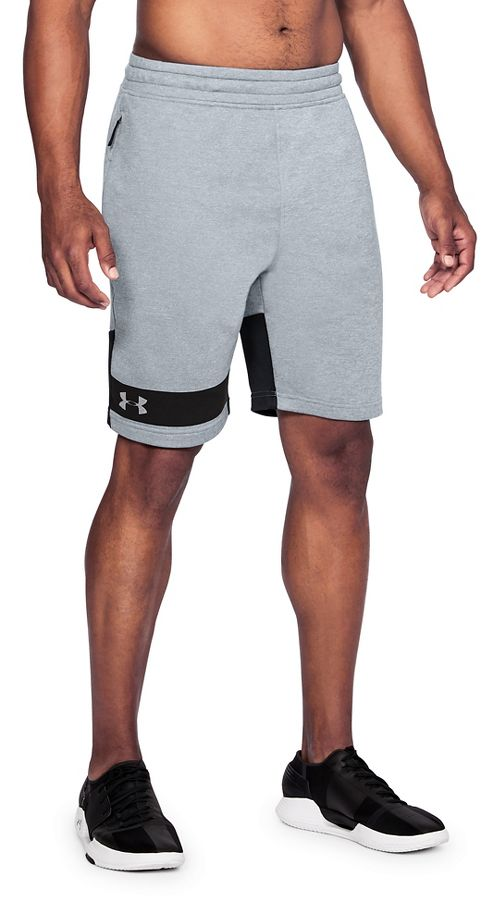 Mens Under Armour Tech Terry Unlined Shorts - Steel/Black L