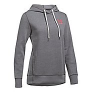Womens Under Armour Favorite Fleece Wordmark Popover Half-Zips & Hoodies Technical Tops - ...