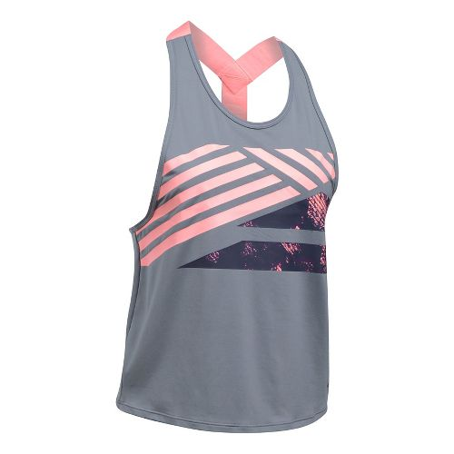 Womens Under Armour Sport 2.0 Graphic Swing Sleeveless & Tank Tops Technical Tops - Steel/Coral XL
