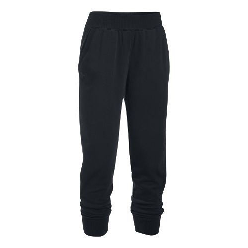 Womens Under Armour French Terry Ankle Crop Pants - Black XL