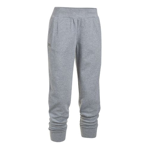 Womens Under Armour French Terry Ankle Crop Pants - True Grey Heather S