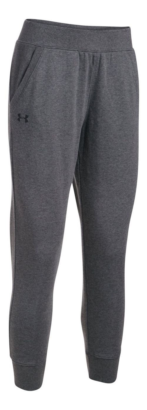 Womens Under Armour French Terry Ankle Crop Pants - Carbon Heather M