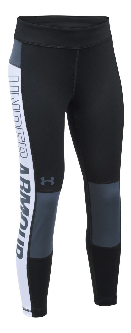 Under Armour Colorblock Crop Legging  Tights - Black/White YL