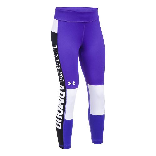 Under Armour Girls Colorblock Crop Legging Tights - Purple/Black YXL