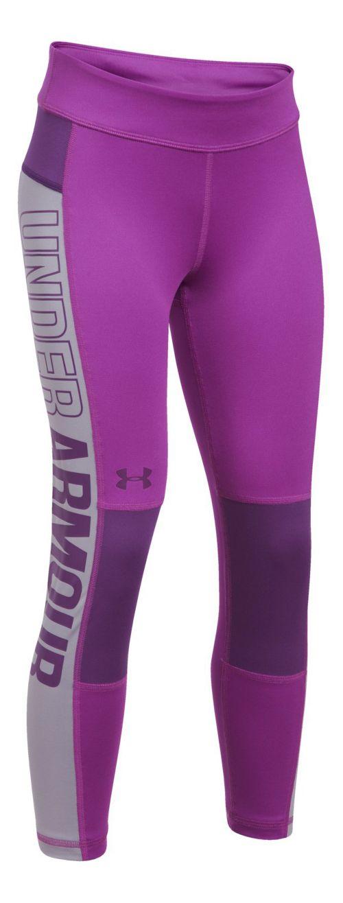 Under Armour Colorblock Crop Legging  Tights - Purple/Grey YM