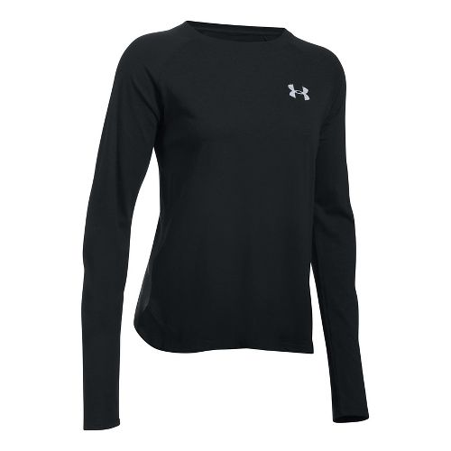 Womens Under Armour Graphic Triblend Long Sleeve Technical Tops - Black/Carbon Heather S