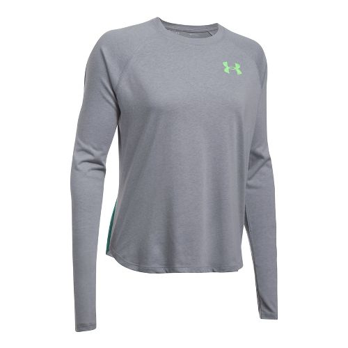 Womens Under Armour Graphic Triblend Long Sleeve Technical Tops - Blue Infinity/Blue XL