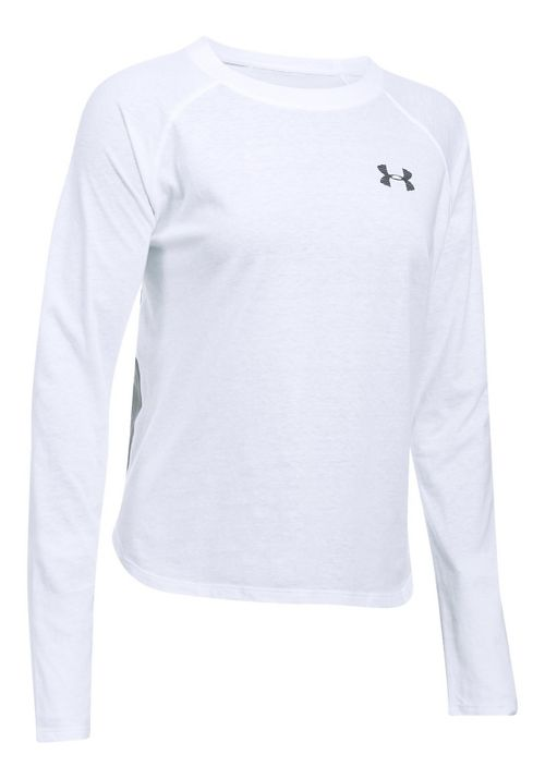 Womens Under Armour Graphic Triblend Long Sleeve Technical Tops - White/Grey Heather L