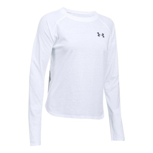 Womens Under Armour Graphic Triblend Long Sleeve Technical Tops - White/Grey Heather XL