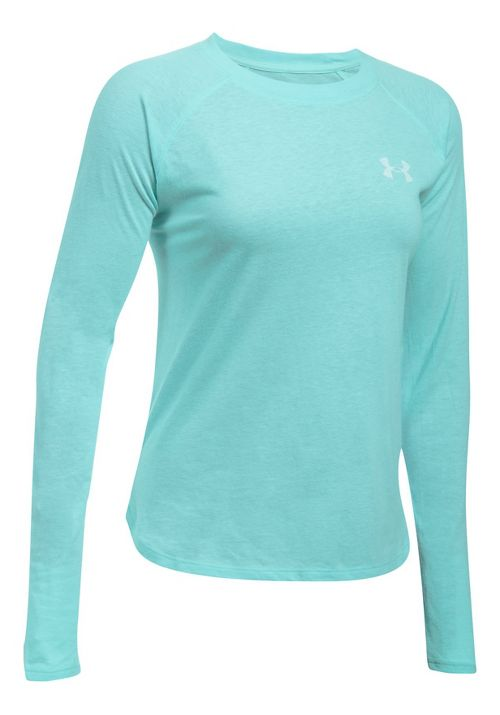 Womens Under Armour Graphic Triblend Long Sleeve Technical Tops - Blue Infinity/Blue M