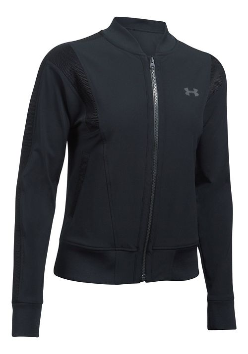 Womens Under Armour Mixed Media Woven Bomber Casual Jackets - Black L