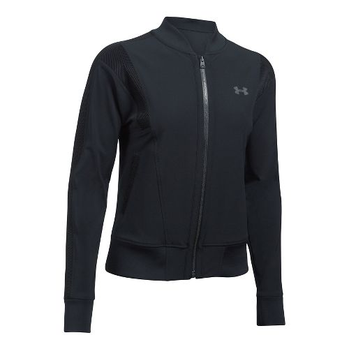Womens Under Armour Mixed Media Woven Bomber Casual Jackets - Black M