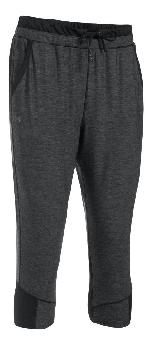 Womens Under Armour Sport Twist Crop Pants - Black/Black M