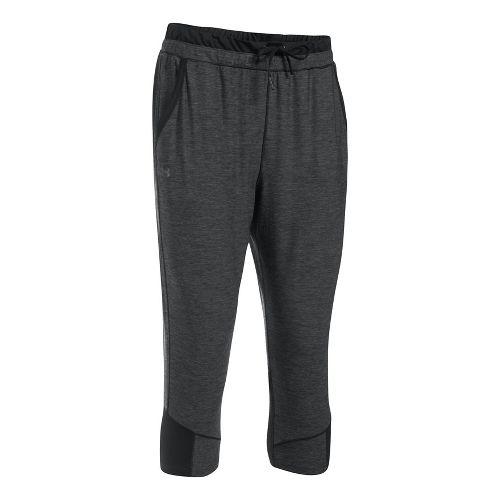 Womens Under Armour Sport Twist Crop Pants - Black/Black L
