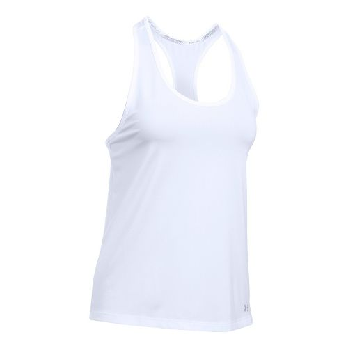 Womens Under Armour Fly By Classic Racerback Short Sleeve Technical Tops - White L