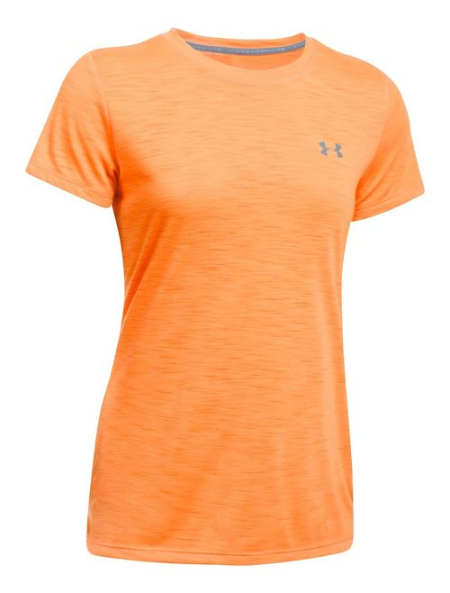 Womens Under Armour Threadborne Train Crew - Slub Short Sleeve Technical Tops - Orange Peel M