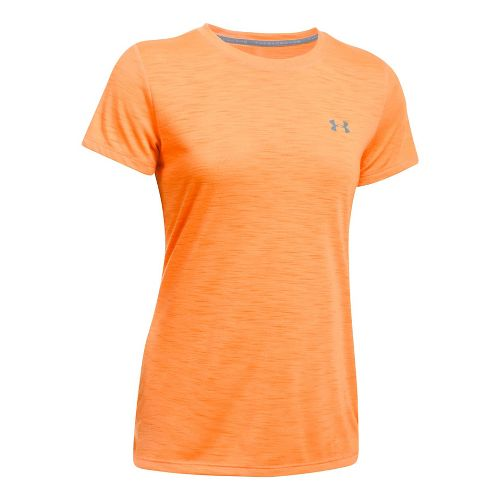 Womens Under Armour Threadborne Train Crew - Slub Short Sleeve Technical Tops - Orange Peel M