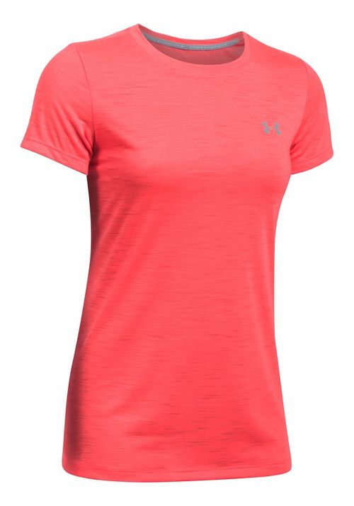 Womens Under Armour Threadborne Train Crew - Slub Short Sleeve Technical Tops - Marathon Red XS