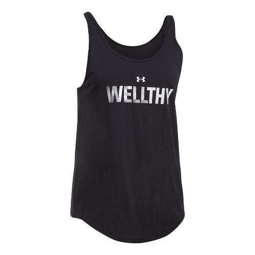 Womens Under Armour Wellthy Uback Sleeveless & Tank Tops Technical Tops - Black/Silver S