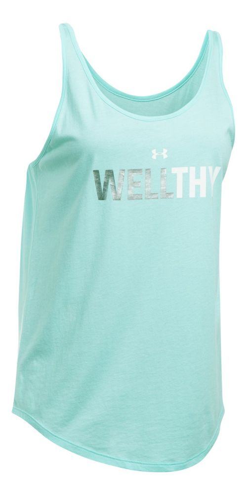 Womens Under Armour Wellthy Uback Sleeveless & Tank Tops Technical Tops - Blue Infinity/Silver XL