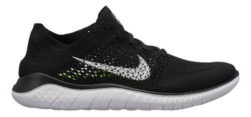 Mens Nike Free RN Flyknit 2018 Running Shoe - Black/White 8
