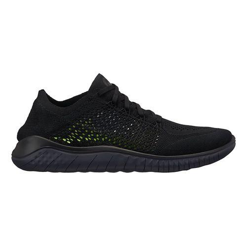 Mens Nike Free RN Flyknit 2018 Running Shoe - Black/Black 12