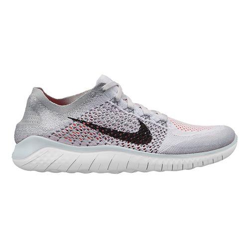 Mens Nike Free RN Flyknit 2018 Running Shoe - White/Crimson 10.5