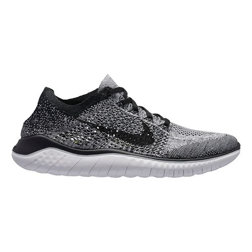 Mens Nike Free RN Flyknit 2018 Running Shoe - White/Black 9