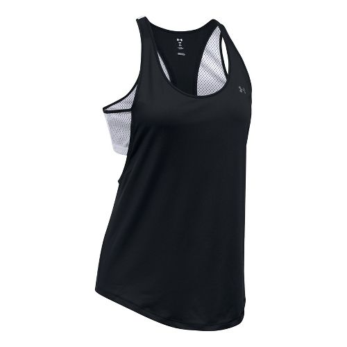Womens Under Armour Flashy 2-in-1 Sleeveless & Tank Tops Technical Tops - Black/White L