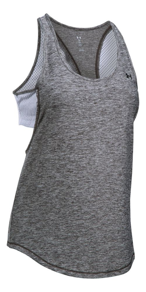 Womens Under Armour Flashy 2-in-1 Sleeveless & Tank Tops Technical Tops - Carbon Heather/White S