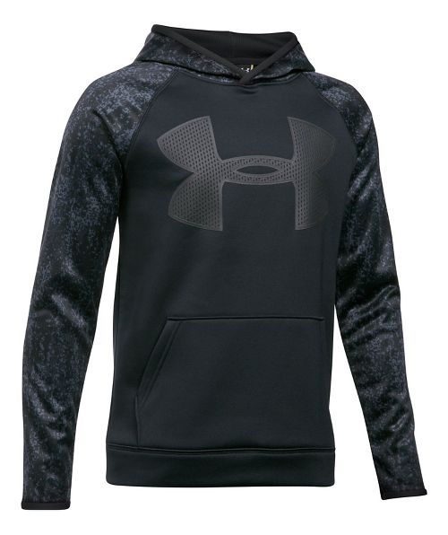 Under Armour Boys Fleece Big Logo Printed Half-Zips & Hoodies Technical Tops - Graphite/ Blue YXS