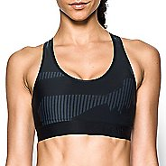 Womens Under Armour Mid Printed Sports Bras - Stealth Grey/Black M