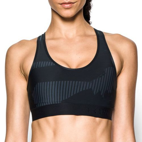 Womens Under Armour Mid Printed Sports Bras - Stealth Grey/Black L