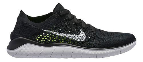 Womens Nike Free RN Flyknit 2018 Running Shoe - Black/White 6