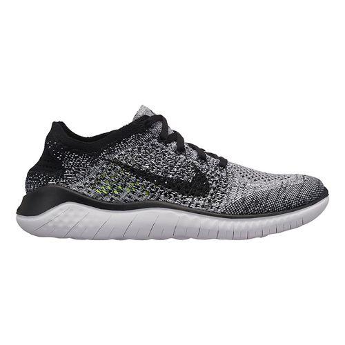 Womens Nike Free RN Flyknit 2018 Running Shoe - White/Black 6.5