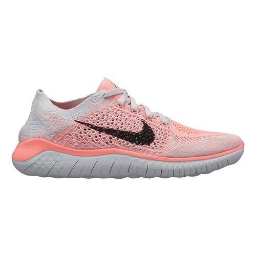 Womens Nike Free RN Flyknit 2018 Running Shoe - White/Crimson 11